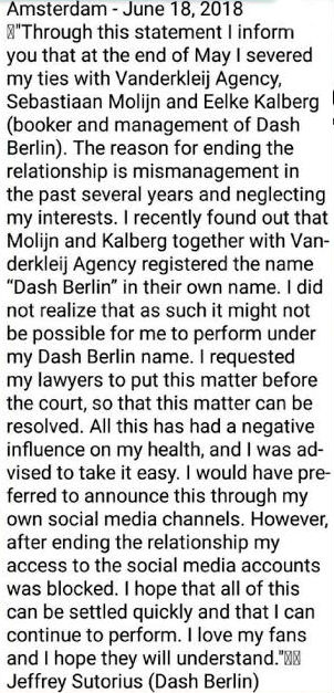 Jeffrey Sutorius of Dash Berlin Statement