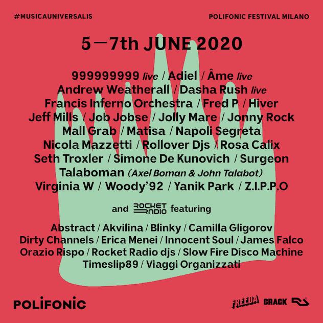 Polifonic Milan 2020 lineup