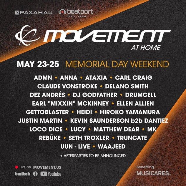 Paxahau Movement At Home lineup flyer