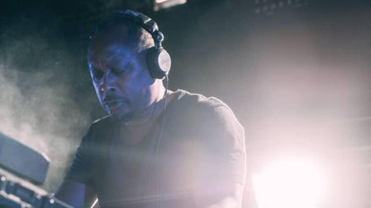 Detroit techno artist Derrick May during a DJ performance.
