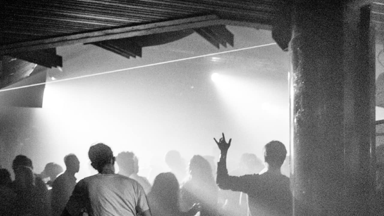 Fabric London crowd lights black white