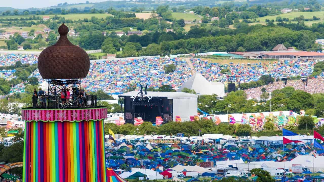 Glastonbury Festival rainbow tower