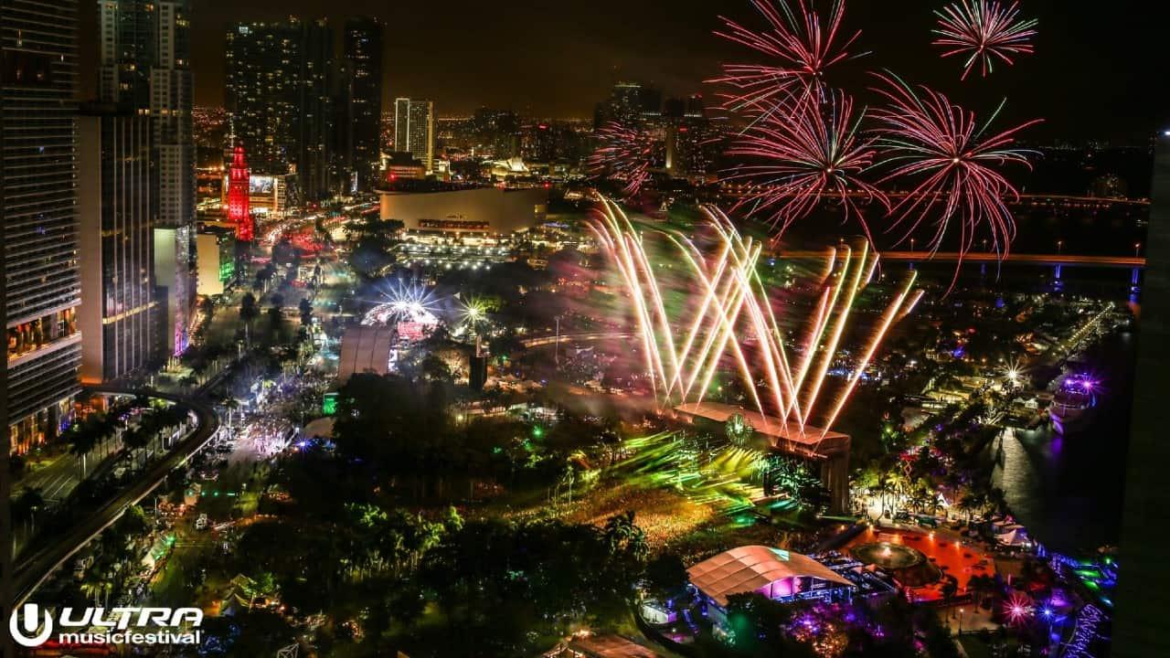 Ultra Music Festival fireworks overhead Bayfront Park