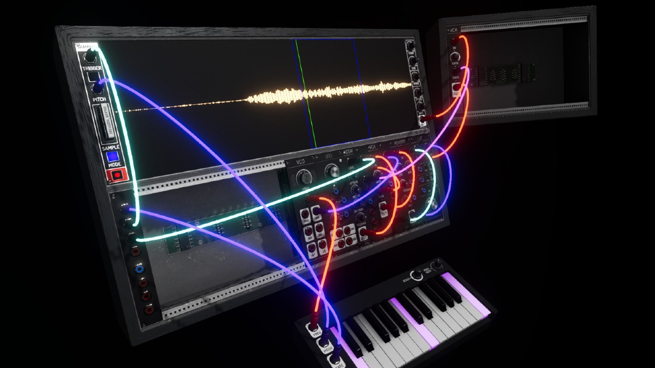 Synthspace virtual reality synthesizer black background