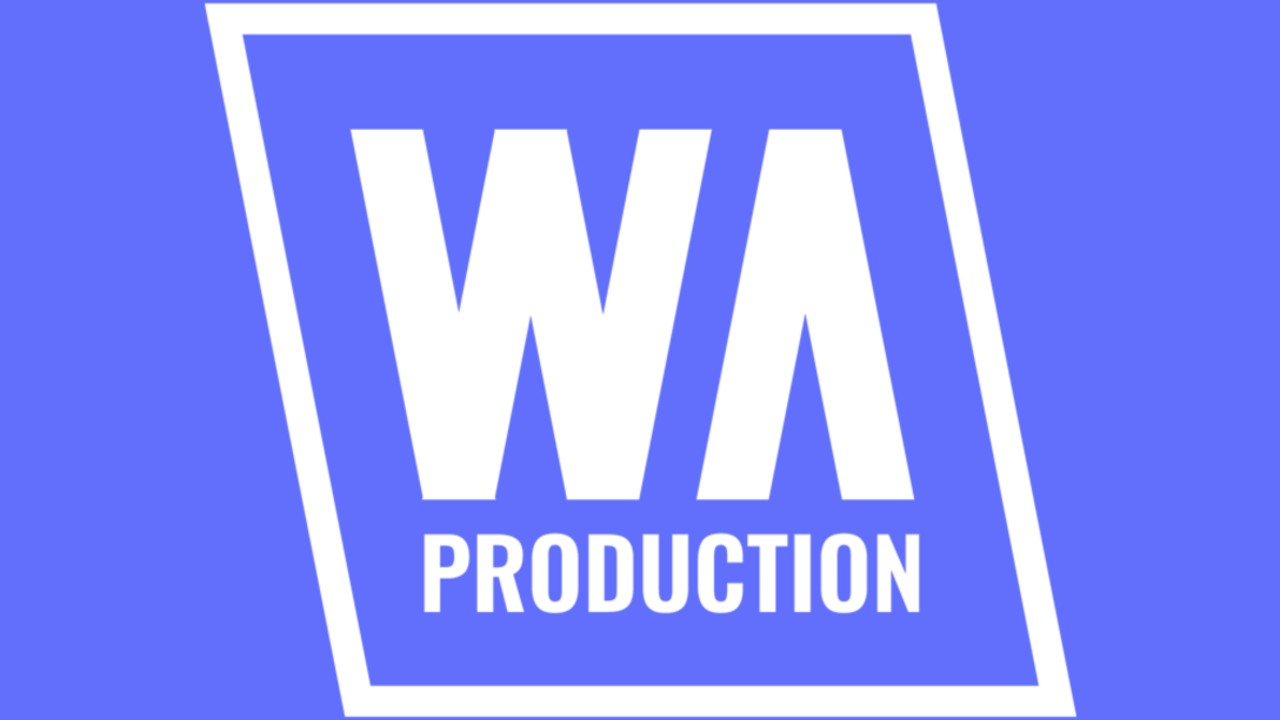 W.A. Production logo white royal blue