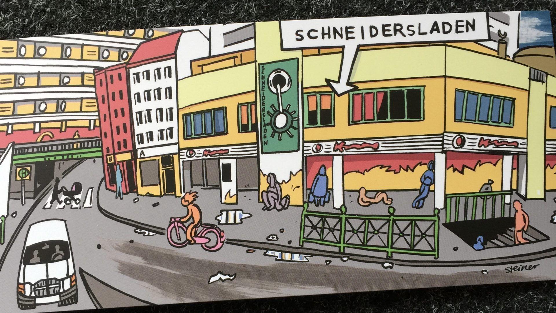SchneidersLaden Berlin synth store cartoon