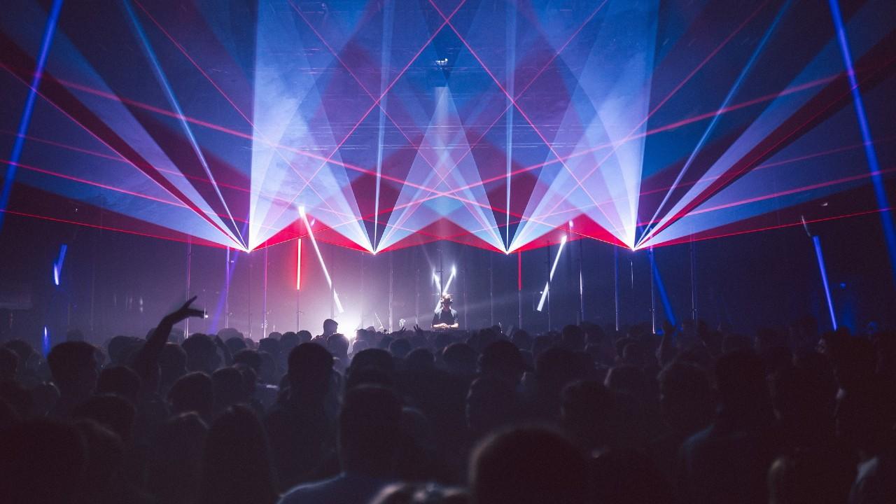 SWG3 nightlife crowd lasers