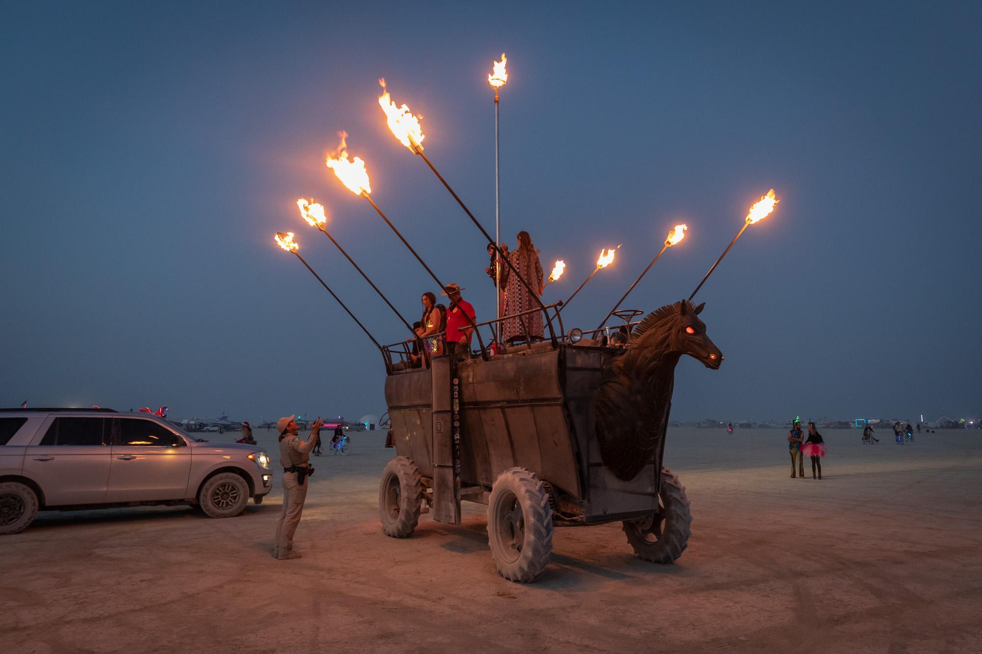 Fire horse art car Burning Man 2021