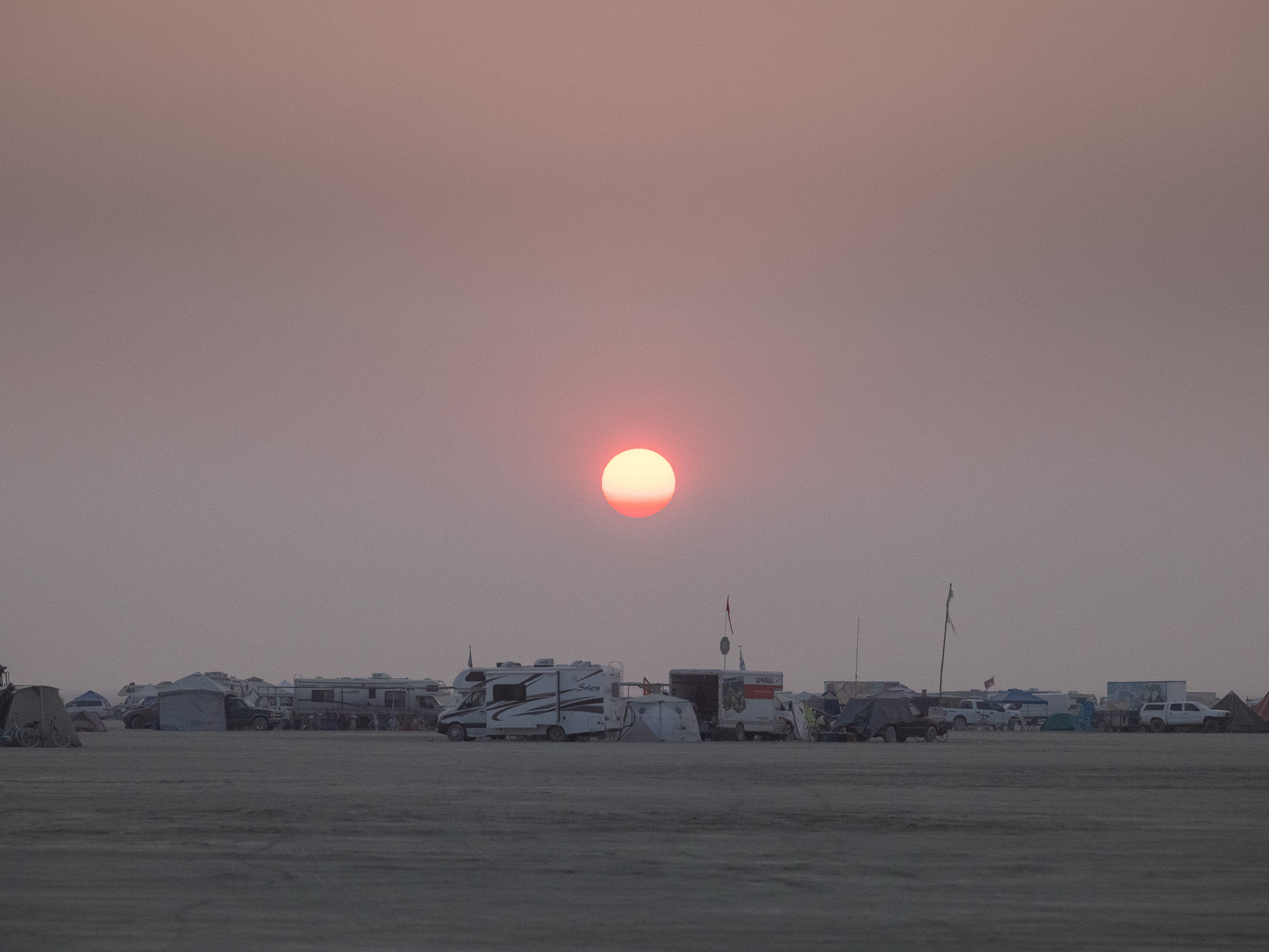 RVs dusk Burning Man 2021